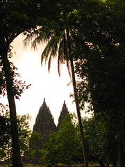 rahasia (Farl) Tags: travel trees sunset monument nature colors indonesia temple java faith religion unesco spire doorway tradition yogyakarta yogya jogjakarta hindu hinduism jawa portals preservation worldheritage prambanan candi centraljava jogya bluelist