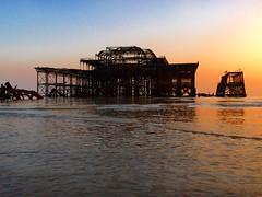 west pier sunset water (Bruno?) Tags: sunset sea water skeleton brighton westpier derelict imagespace:hasdirection=false