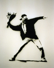 banksy (DocZork - restless) Tags: flowers 2002 urban art bavaria graffiti riot hamburg banksy blumen ausstellung graffitiart discipline brauerei aufstand interestigness