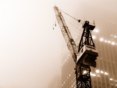 up for the task (nj dodge) Tags: nyc longexposure topf25 fog sepia night construction topf50 500v20f crane manhattan listeningto lg timessquare ichabod 1500v60f 1000v40f dashboardconfessionalunplugged