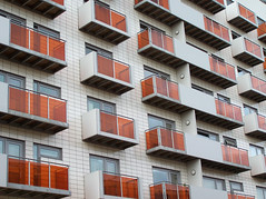 Orange Balconies (Neil101) Tags: street uk windows england urban orange colour building window architecture modern manchester interesting pattern kodak box squares perspective neil most april whitworth tiled wilkinson appartments z740 neilwilkinson neil101 bbcmanchesterblog
