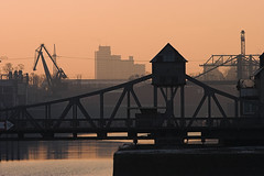 Swing Bridge at Sunrise - by n0ll