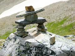 Inukshuk on Whistlers Mountain (johncarney) Tags: canada jasper alberta inukshuk jaspernationalpark whistlersmountain photographedbydarrell
