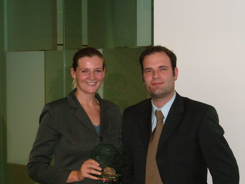 Winner Liz Chase with Scott from Minter Ellison