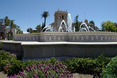 Balboa Park Front Fountain (cwgoodroe) Tags: california park flower water fountain pool architecture reflecting san sandiego diego fisheye sd balboa balboapark sandeigo