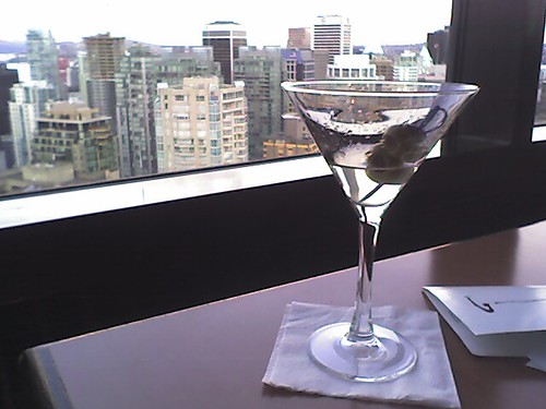 Martini foreground, Downtown skyline background by mezzoblue.