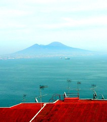 and, in the background, misty Vesuvio (loungerie) Tags: roof red sea panorama topv111 landscape rouge volcano rojo mare campania tetto loveit napoli naples vesuvio rosso antenna vulcano topphotoblog