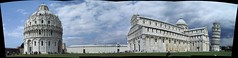 Pisa baptistory, cathedral and leaning tower (hinderik) Tags: blue sky italy autostitch panorama postprocessed tower church clouds cathedral loveit pisa leaningtower faved welldone hinderik cchk baptistory