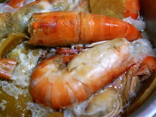 steamed tiger prawns