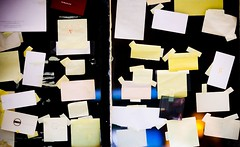 Organizational (Thomas Hawk) Tags: sanfrancisco california city usa window paper unitedstates g unitedstatesofamerica postits stationery remainder unreadable sanfranciscomagazine