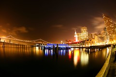 Port/ S.F (4PIZON) Tags: sanfrancisco longexposure nightphotography water night canon bay nightshot fisheye baybridge ferrybuilding 5d 450 keepers april28 portofsf i500 4pizon sfchronicle96hours platinumphoto colorsofthenight alemdagqualityonlyclub