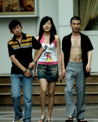 Our Gang - Young Hoods in Shenzhen (Shanghai Sky) Tags: china street boy 3 girl danger asian mouse couple asia walk gang mickey shenzhen shanghaiist