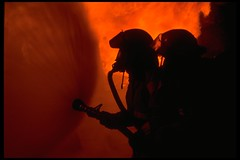 Putting Water on It (jetrotz) Tags: film silhouette fire screensaver savannah portfolio firefighter myfave emegencyservices