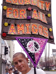 Equality for All Amigos (carolinecohenour) Tags: california ca pink people urban orange usa amigos color building texture yellow glitter architecture america silver word disco for la us losangeles los all message purple unitedstates angeles crafts streetsign political protest 2006 symmetry calif spanish polkadots popart latino peacesign immigration equality wilshireblvd reflectivelights
