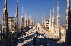 The Cathedral's Roof, Milan, Italy (Thad Roan - Bridgepix) Tags: roof italy sculpture milan building church statue architecture europe cathedral gothic landmark duomo 200109 duomodimilano italy2001