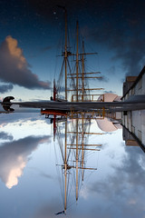 Leeuwin II (Devar) Tags: blue sky cloud reflection topf25 water puddle mirror boat dock topv555 harbour topc50 vessel rope fremantle rigging berth leeuwin canon1635mmf28lusm interestingness3 polarisation leeuwinii bvl2 utatafeature