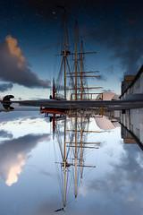 Leeuwin II (Devar) Tags: blue sky cloud reflection topf25 water puddle mirror boat dock topv555 harbour topc50 vessel rope fremantle rigging berth leeuwin canon1635mmf28lusm interestingness3 polarisation leeuwinii bvl2 utatafeature