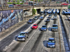 l.a. traffic in hdr (Kris Kros) Tags: california ca blue red usa public car cali photoshop truck silver photography graffiti la us losangeles interestingness high cool interesting nikon pix dynamic 4x4 cs2 ps 101 socal freeway kris van range hdr jjj kkg i101 nikoncoolpix 3xp photomatix pscs2 kros kriskros kk2k kkgallery