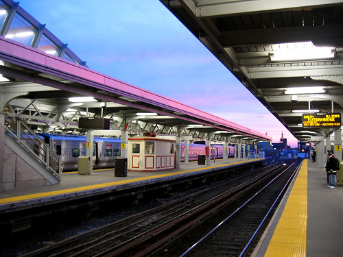 Jamaica station sunset, waiting