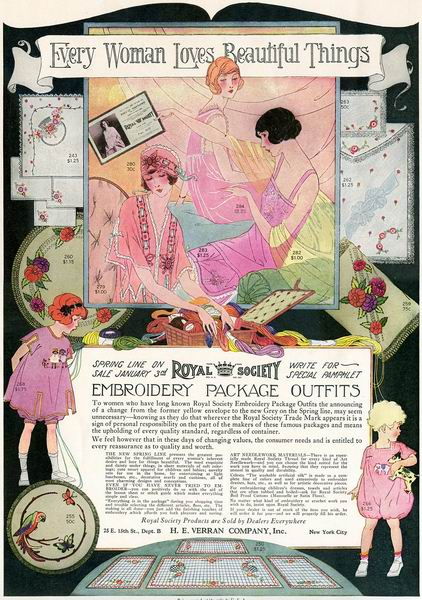 """Royal Society Embroidery Package Outfits"" ad, 1923"