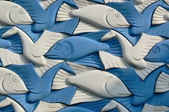 Escher Symmetry (Pieter Musterd) Tags: blue fish bird art blauw nederland thenetherlands denhaag symmetry panasonic relief explore escher thehague fz30 supershot 50faves 35faves pieter007 klickr4geselecteerd
