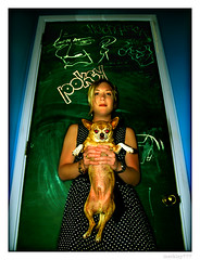Nickie & Riley James (merkley???) Tags: sanfrancisco red portrait dog chihuahua fashion photoshop portraits saturated symmetry doorknob portraiture saturation symmetrical redeye pokey safe chalkboard retouched airbrush nickie rileyjames smallweiner chicksset