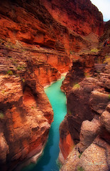 Grand Canyon, Havasupai Reservation (etravus) Tags: travel light shadow vacation arizona orange mountain holiday west green history film feet tourism nature water beautiful rock stone silver river landscape waterfall interestingness jump saturated rust colorful tour natural turquoise grandcanyon vivid floating sunny away babe adventure honey journey travis powell emerald complimentary chocholate travisprice etravus grandcanyonadventure ultra50 grandcanyonexpeditionscompany