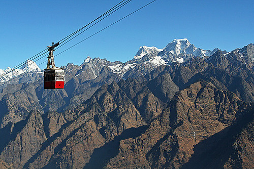 A Cable Car in the Mountains