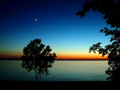 Moon Over Lake Michigan... (Doug Langham) Tags: sunset lake nature night lakeview breathtaking absolutemichigan firsttheearth bloggingformichigan breathtakinggoldaward sunsetsandsunrisesgold