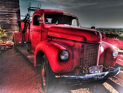 Idaho Fire Truck (Videoal) Tags: old red arizona abandoned junk desert used explore flattire hoses goldfield nowindows idahofiretruck redfiretruck