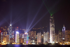 Festival of Lights (Steve Webel) Tags: china skyline hongkong lights cityscape laser   festivaloflights victoriaharbour