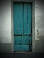 44 (madamepsychosis) Tags: door urban colors beauty wall aqua cracked peeled entrances