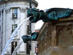 Gargoyles Albert Square (Neil101) Tags: uk blue england building water fountain architecture square manchester flow interesting albert evil neil drip gargoyle most beast squirt gargoyles winged grotesque grotesques wilkinson montster neilwilkinson neil101 bbcmanchesterblog