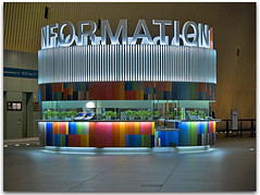 Information Desk, Tokyo (Metropol 21) Tags: color sign japan architecture typography lights tokyo colorful architectural billboard colored kiosk shelter informationdesk information tokyointernationalforum masterpiece ticketbooth informationcentre anawesomeshot