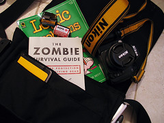 Whats in my bag? (short term effect) Tags: bag nikon ipod kodak whats zombie f80 n80 agfa logic