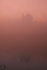 Taj & Fog through Cokin Filter (Captain Suresh Sharma) Tags: travel sunset sun india mist holiday reflection building love monument fog architecture clouds sunrise photo site nice peace view muslim tomb culture taj agra unescoworldheritagesite memory dome archeology silouhette archeological obscure commitment yamuna cokinfilters captsureshsharma