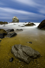 Seal Rocks Beach (ec808x) Tags: ocean sanfrancisco longexposure nightphotography sky seascape motion beach misty night clouds d50 coast nikon rocks waves wideangle bayarea moonlight waterway tamron1118mm sealrocksbeach