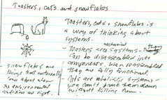 Toasters, cats and snowflakes (dgray_xplane) Tags: training paper cards post postcard meme card thinking postcards concept gtd visualization ideas index memes toolkit consulting node 3x5 indexcards concepts nodes visuallanguage xplane indexcard visualthinking vizthink visthink vizlang vislang