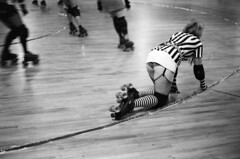 twist and crawl (birdcage) Tags: blackandwhite bw referee maryland baltimore fishnets canonae1 garterbelt charmcityrollergirls puttyhillskateland