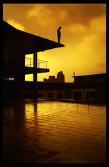 yellow day at black river (panic-embryo) Tags: topf25 yellow buildings cityscape silhouettes surreal figures artphotography