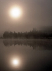 burnin' through (Steve took it) Tags: mist ontario reflection nature fog sunrise quetico bwca noisereduction