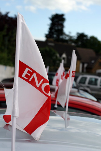 England flag flying from a car, World Cup 2010, South Africa