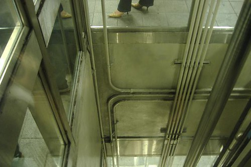 down the elevator shaft at 42nd street station