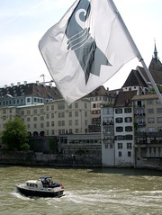 Rhine River, Basel (Just Back) Tags: bridge river schweiz boat basel rhine brucke swtzerland