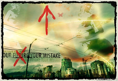 Our Future Your Mistake (cherryvega) Tags: city sky canada girl illustration vancouver clouds skyscraper photoshop design downtown bc graphic text apocalypse dramatic cables montage future illustrator storms desolate darkcity dystopia officeblocks