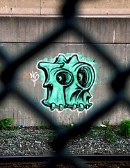 Skull (Matt Niemi) Tags: graffiti busway pittsburgh shadyside traintracks ng