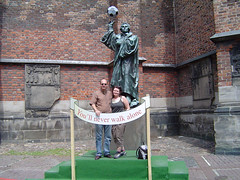 Ann and I in from of a sportive Martin Luther, in Hannover during the 2006 World Cup.