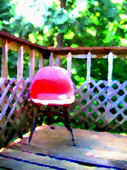 tsuki's chair (sophiacreek (again)) Tags: red 15fav color green beautiful tag3 taggedout altered rouge washington cool chair tag2 tag1 deck 31 catchycolor photomax2 pn 1on1 thecontinuum mnfg wtme