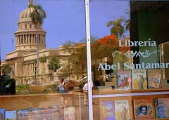 reflection of the Cuban Capitol (seth_holladay) Tags: 2003 reflection text havana cuba may books liberia cubancaptiol nationalcapitolbuilding cubannationallibrary