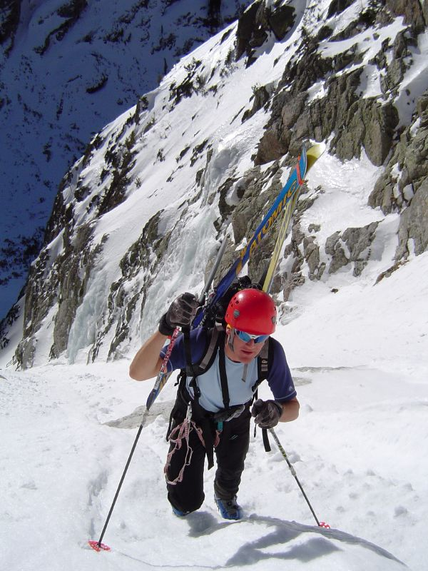 Randosteve climbs the South Couloir on Thor Peak
